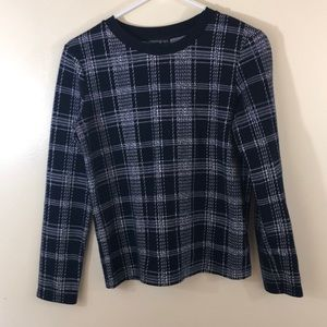 ZARA TRAFALUC Navy Plaid Sweater
